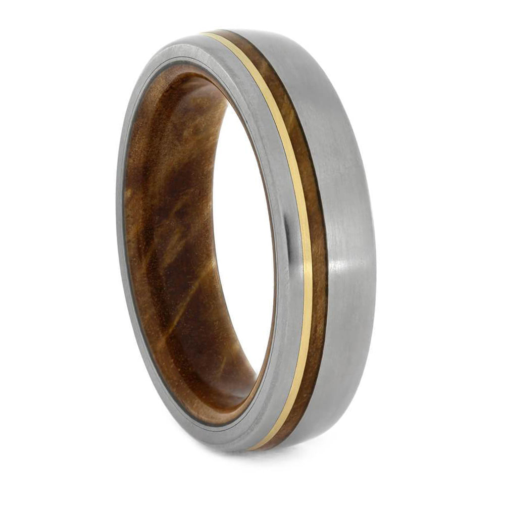 Titanium Wedding Band With Yellow Gold and Sindora Wood-2085 - Jewelry by Johan