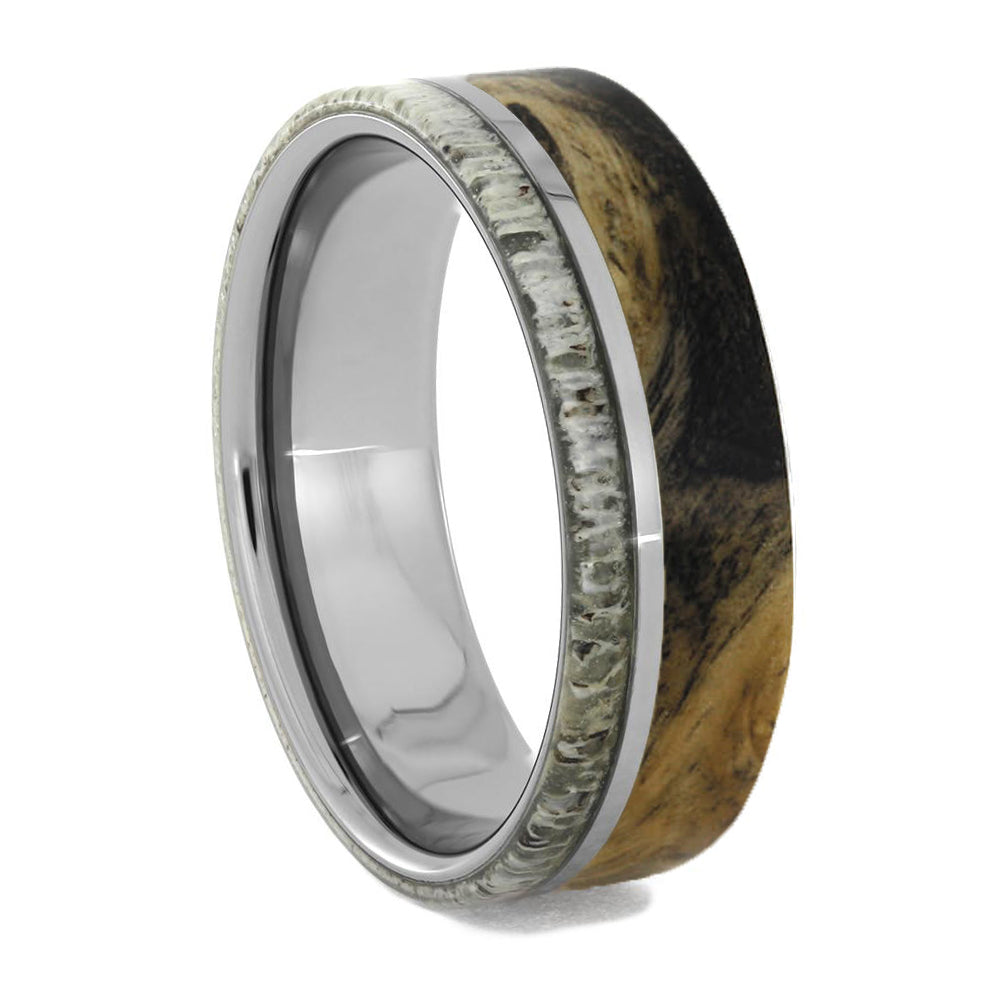 Wood And Antler Men's Tungsten Wedding Band-2093 - Jewelry by Johan