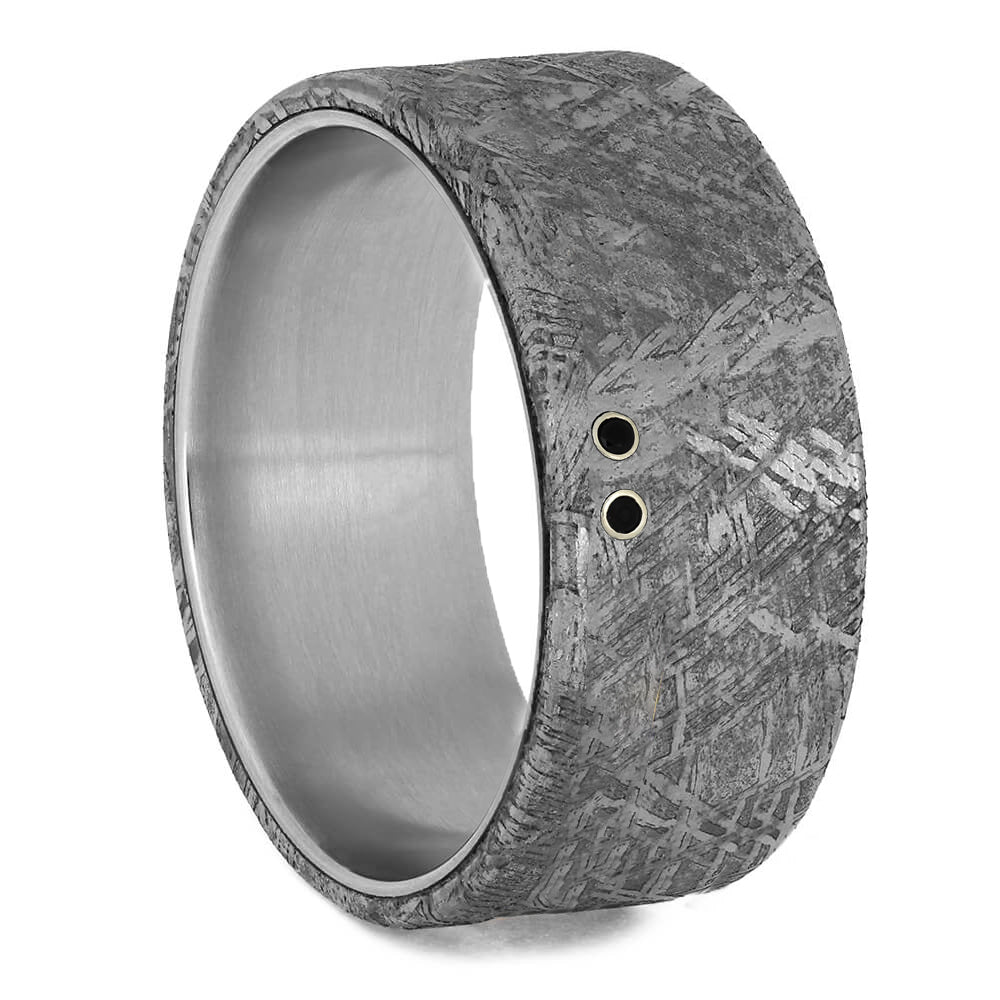 Black Diamond Men's Wedding Band with Meteorite-2097 - Jewelry by Johan