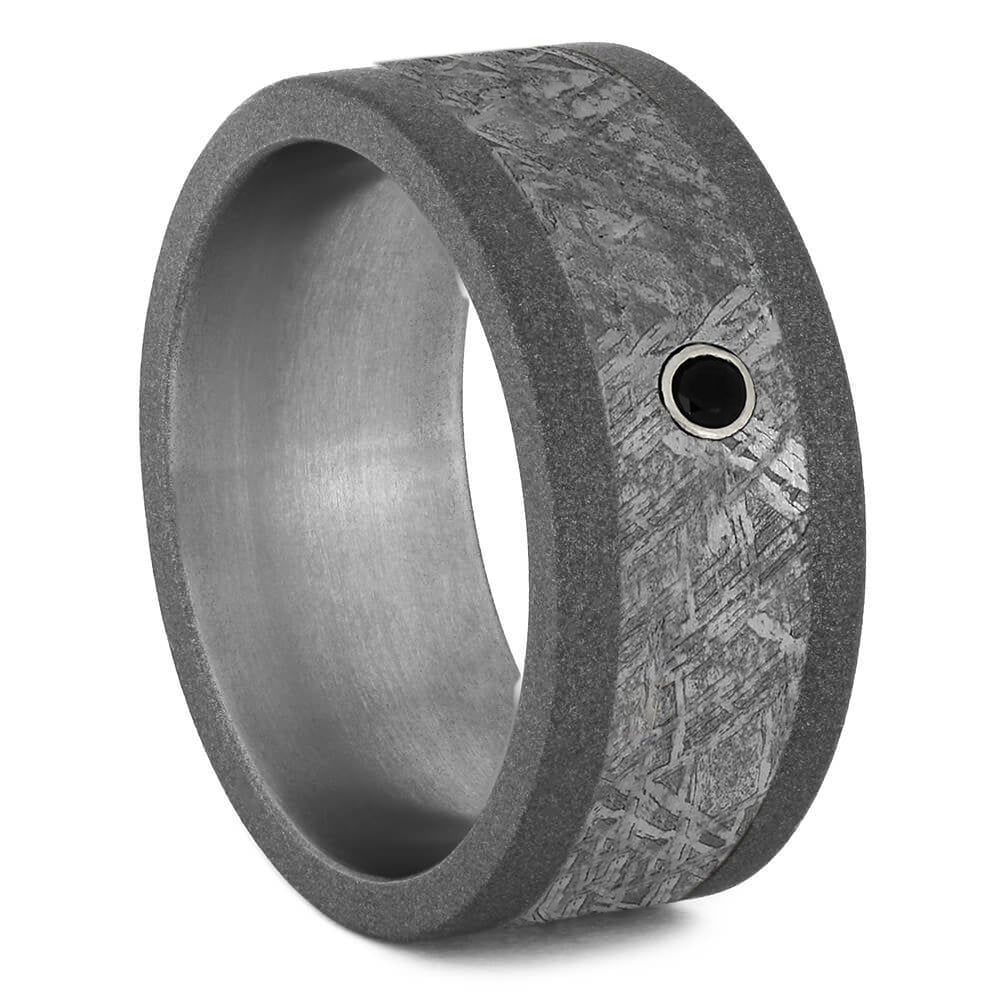 Black Diamond & Meteorite Men's Wedding Band-2110 - Jewelry by Johan