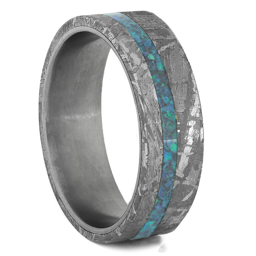 Gibeon Meteorite Wedding Band With Crushed Opal Strip, Titanium Ring-2488 - Jewelry by Johan