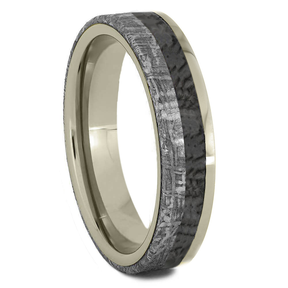 Meteorite & Dinosaur Bone Wedding Band - Jewelry by Johan