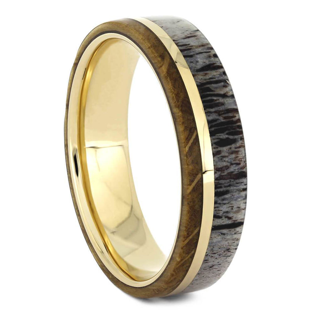 Solid Gold Whiskey Barrel Oak Wood & Antler Wedding Band - Jewelry by Johan