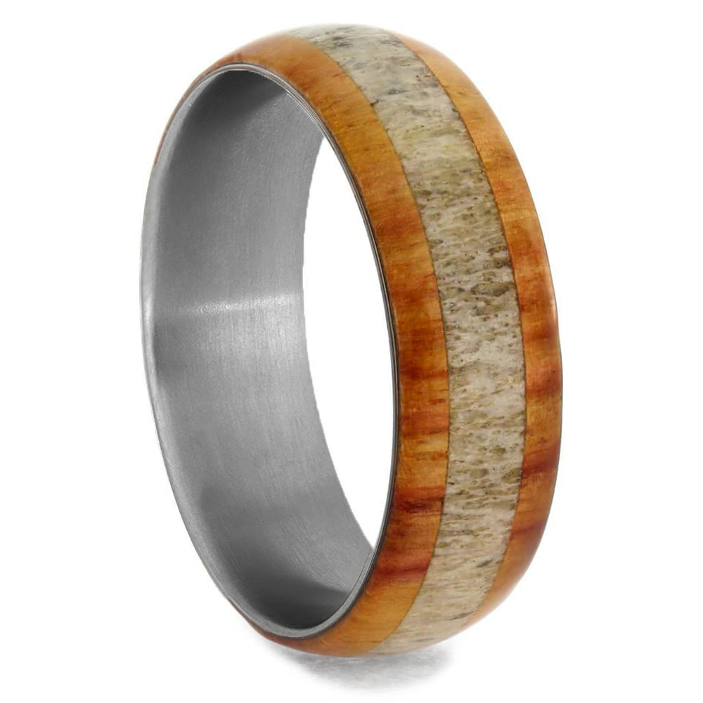 Wood Men's Wedding Band with Deer Antler Inlay-3275 - Jewelry by Johan