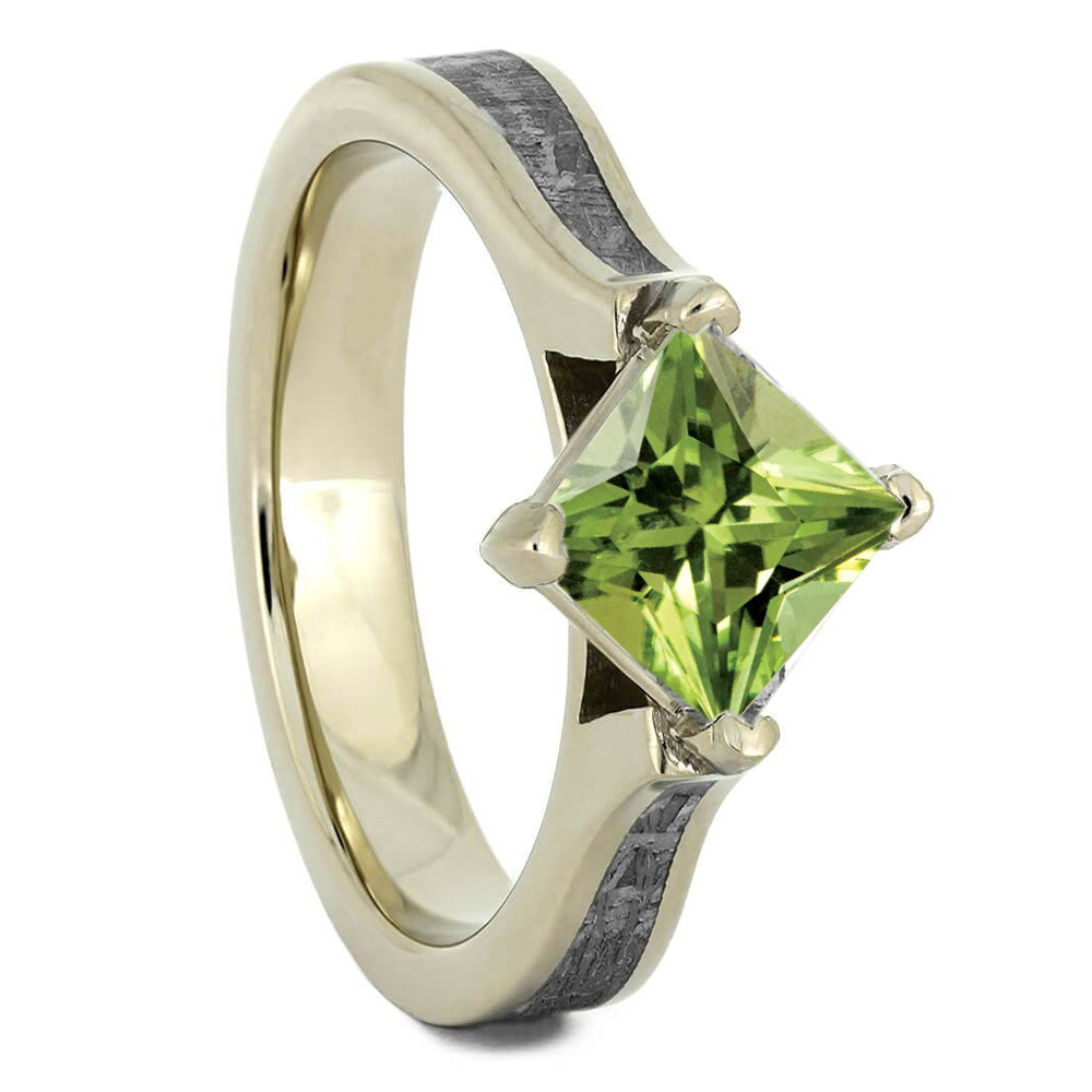 Peridot Engagement Ring, Meteorite Gemstone Ring In White Gold-3362 - Jewelry by Johan