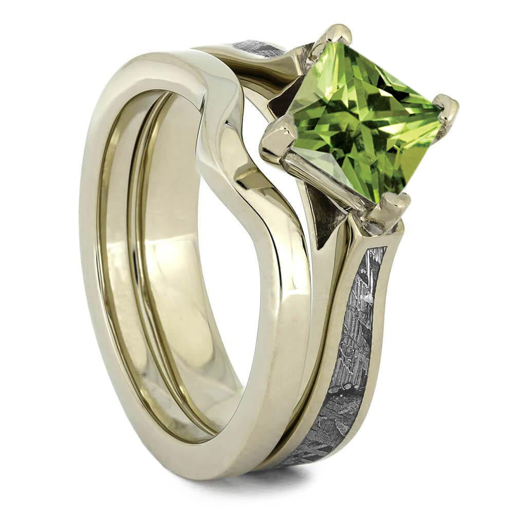Peridot Bridal Set, Meteorite Engagement Ring With Matching Band-3711 - Jewelry by Johan