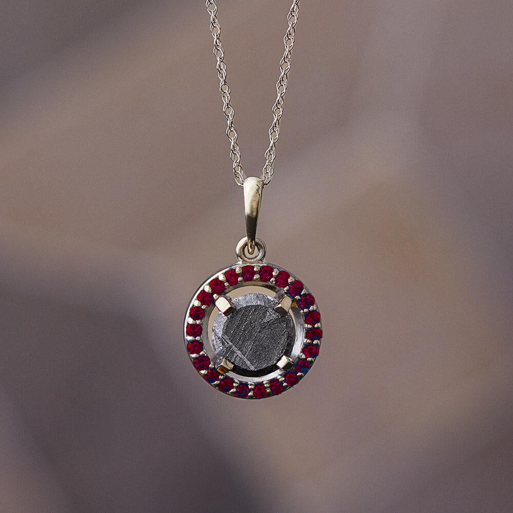 Meteorite Halo Birthstone Pendant Necklace, Anniversary Necklace - Jewelry by Johan