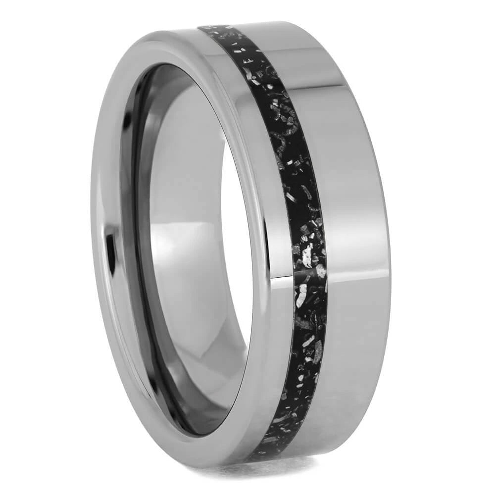 Black Stardust In Simple Titanium Band, Meteorite Ring