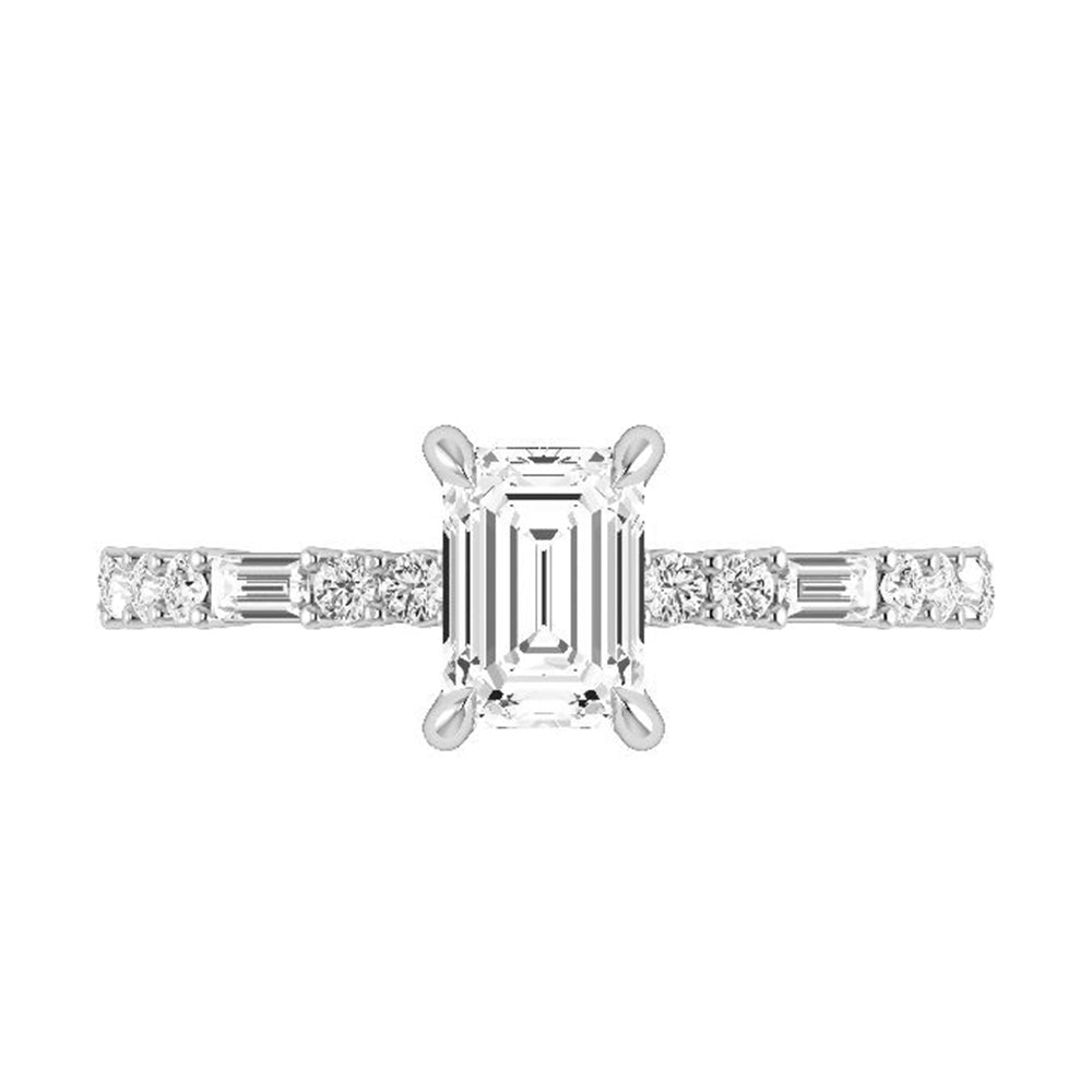 Emerald Cut Moissanite Engagement Ring with Diamond Accents-ST685-22M - Jewelry by Johan