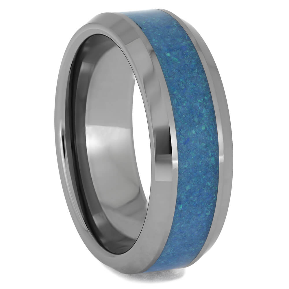 Blue Opal and Tungsten Wedding Band for Men