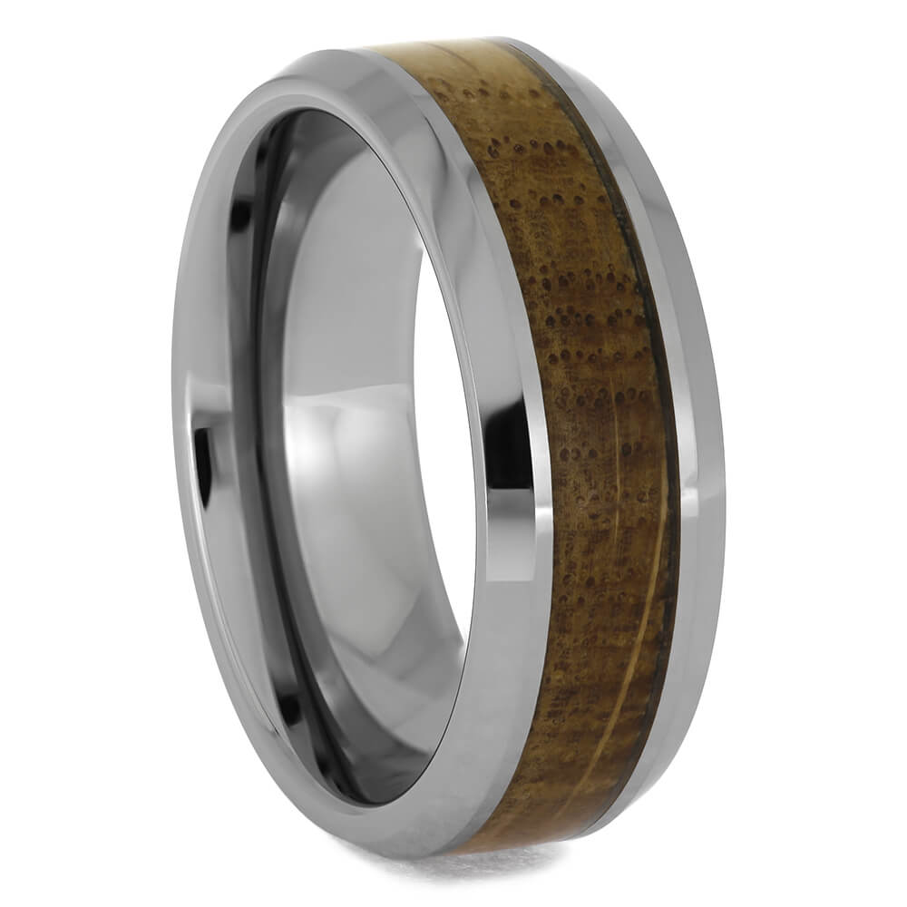 Beveled Tungsten Ring with Whiskey Wood
