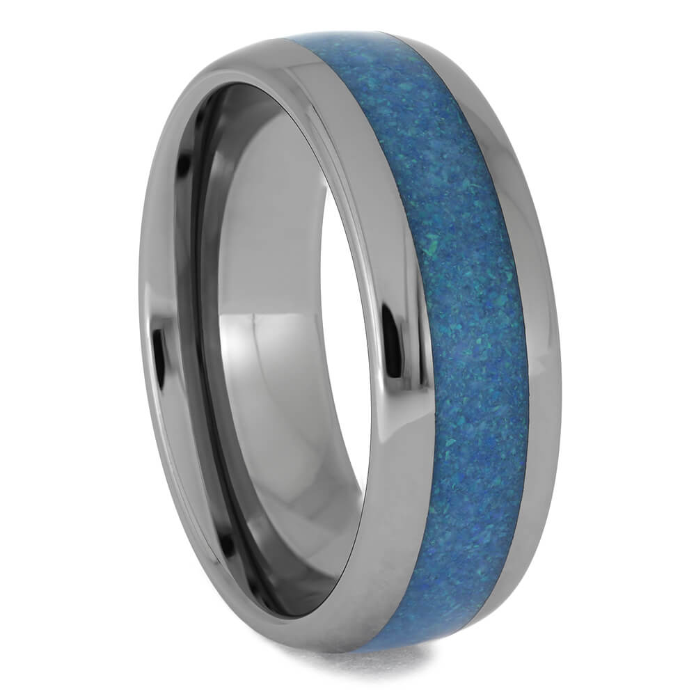 Round Tungsten Ring with Blue Opal