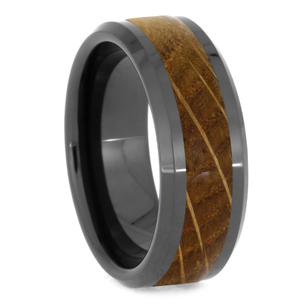 Whiskey Barrel Wood Ring, Black Ceramic or Zirconium Wedding Band - Jewelry by Johan