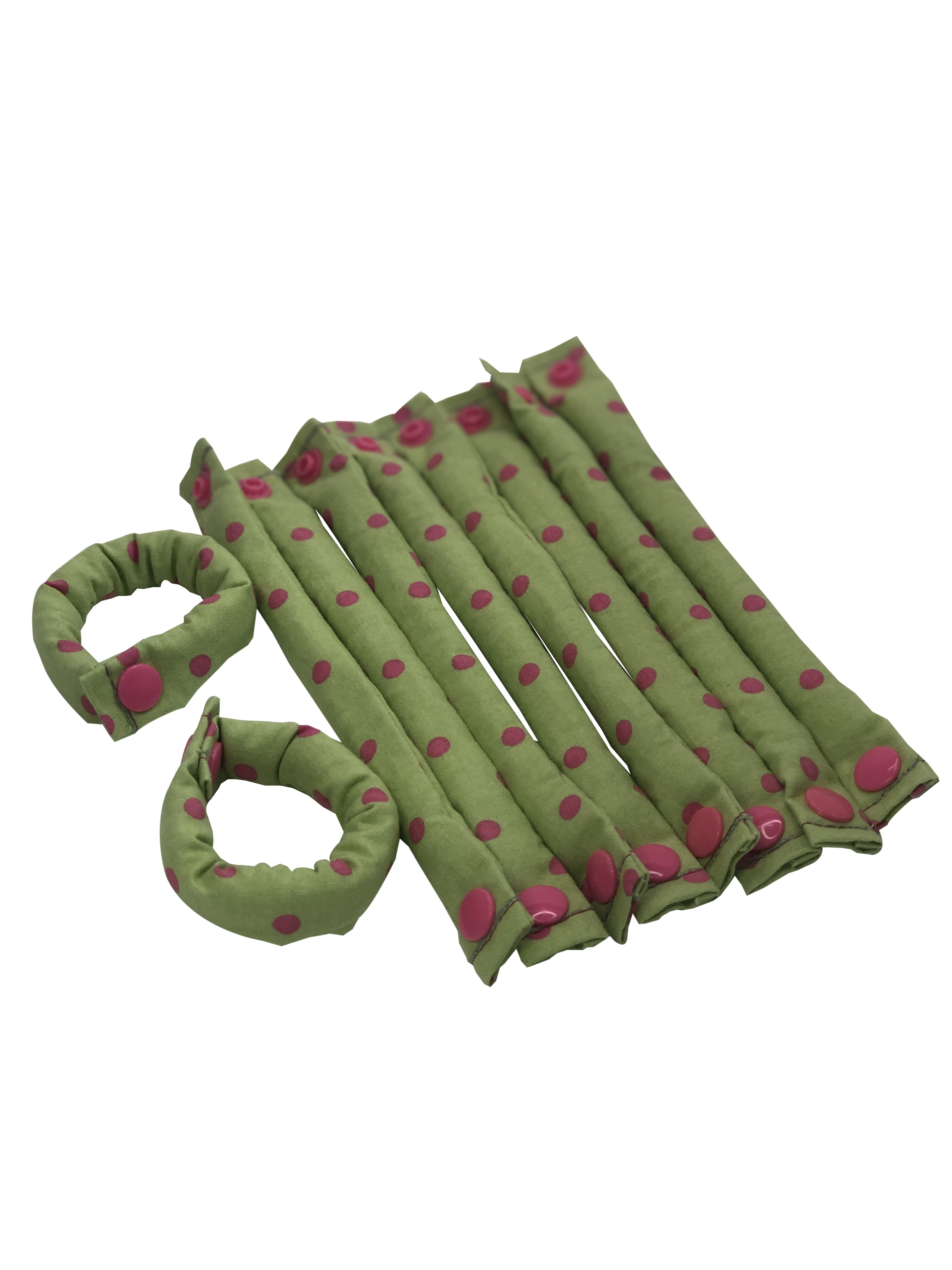 Green and Pink Polka Dot Fabric hair rollers - Hair Curlers - Hair Accessories