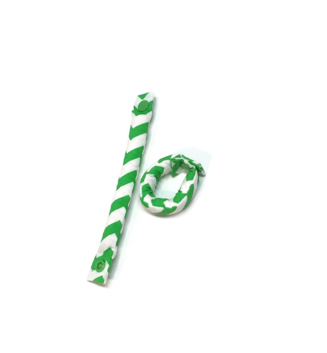Green and White Chevron Hair Rollers- Hair Curlers - Hair Accessories - My Easy Curls