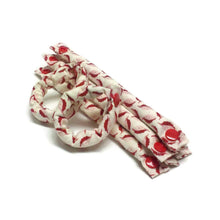 8 piece 1/2 inch set Red Feather on Cream fabric hair rollers. - My Easy Curls
