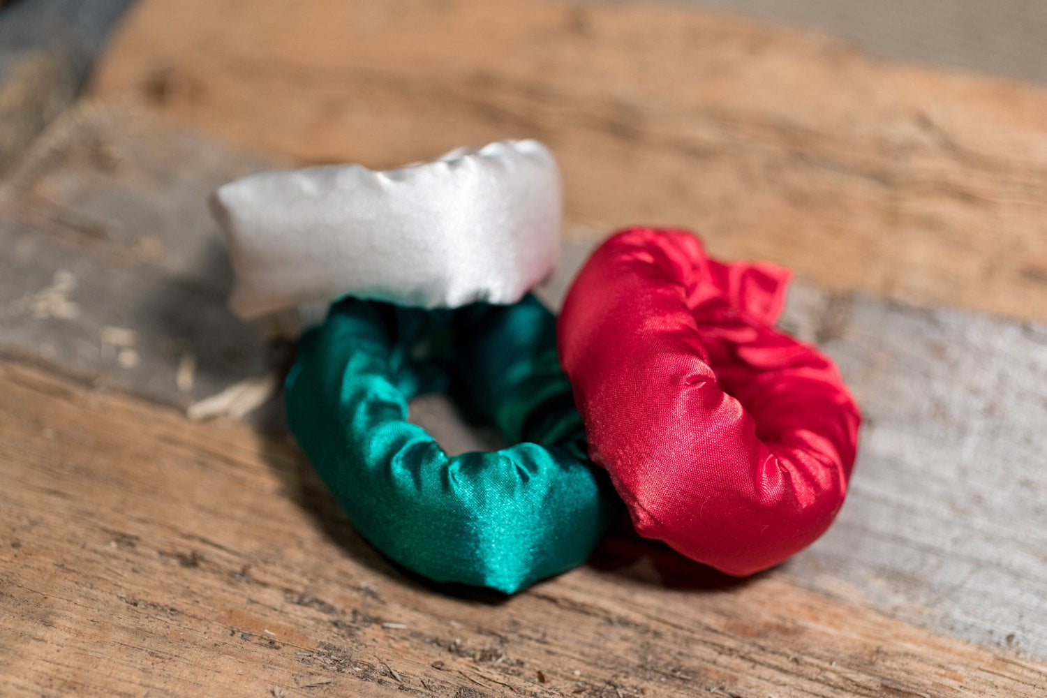 Christmas Colors Satin Fabric Hair Rollers - Bun Maker - Fabric Hair Accessory - My Easy Curls