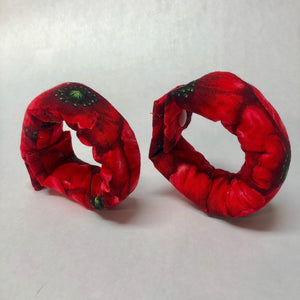 Red Poppies Fabric Hair Roller/  Fabric Hair Curler/ Fabric Hair Bun Maker - My Easy Curls