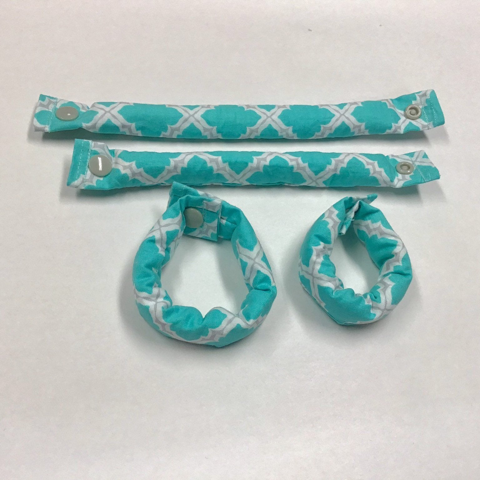 Aqua, White and Grey fabric hair rollers/Hair Curlers/Hair Accessories - My Easy Curls