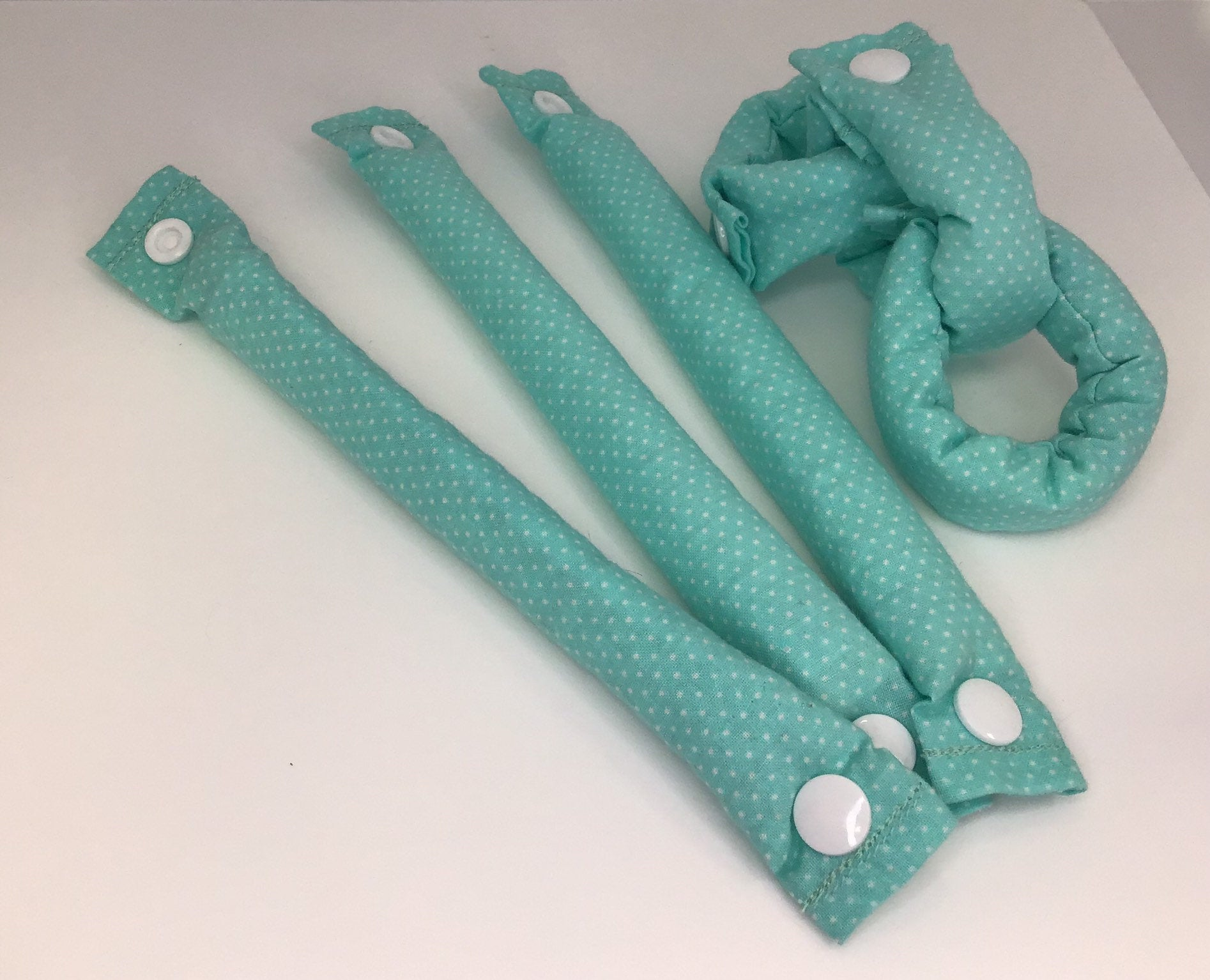 Pastel Green Handmade Fabric Hair Rollers - My Easy Curls