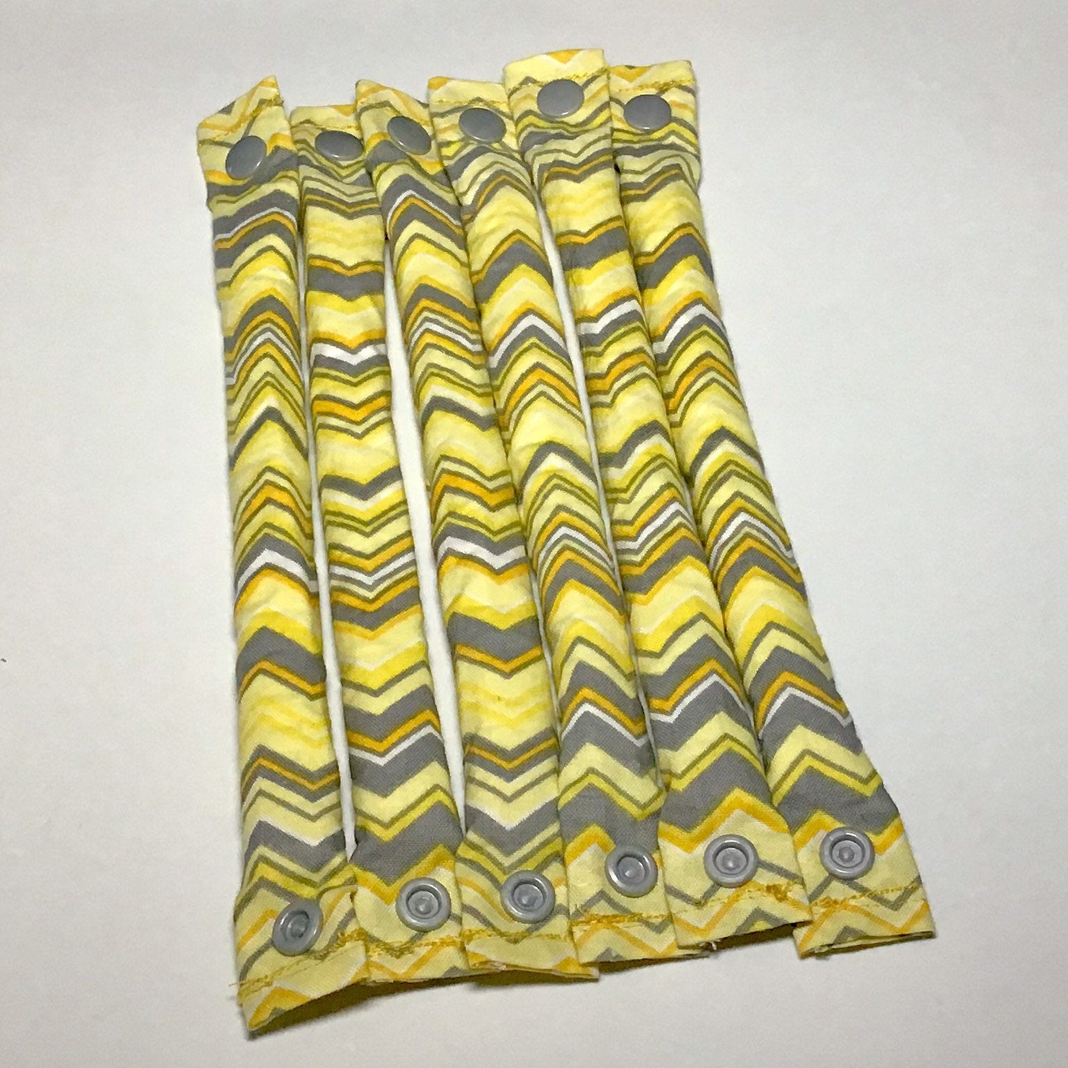 Yellow and Gray Chevron Cotton Hair Rollers - My Easy Curls