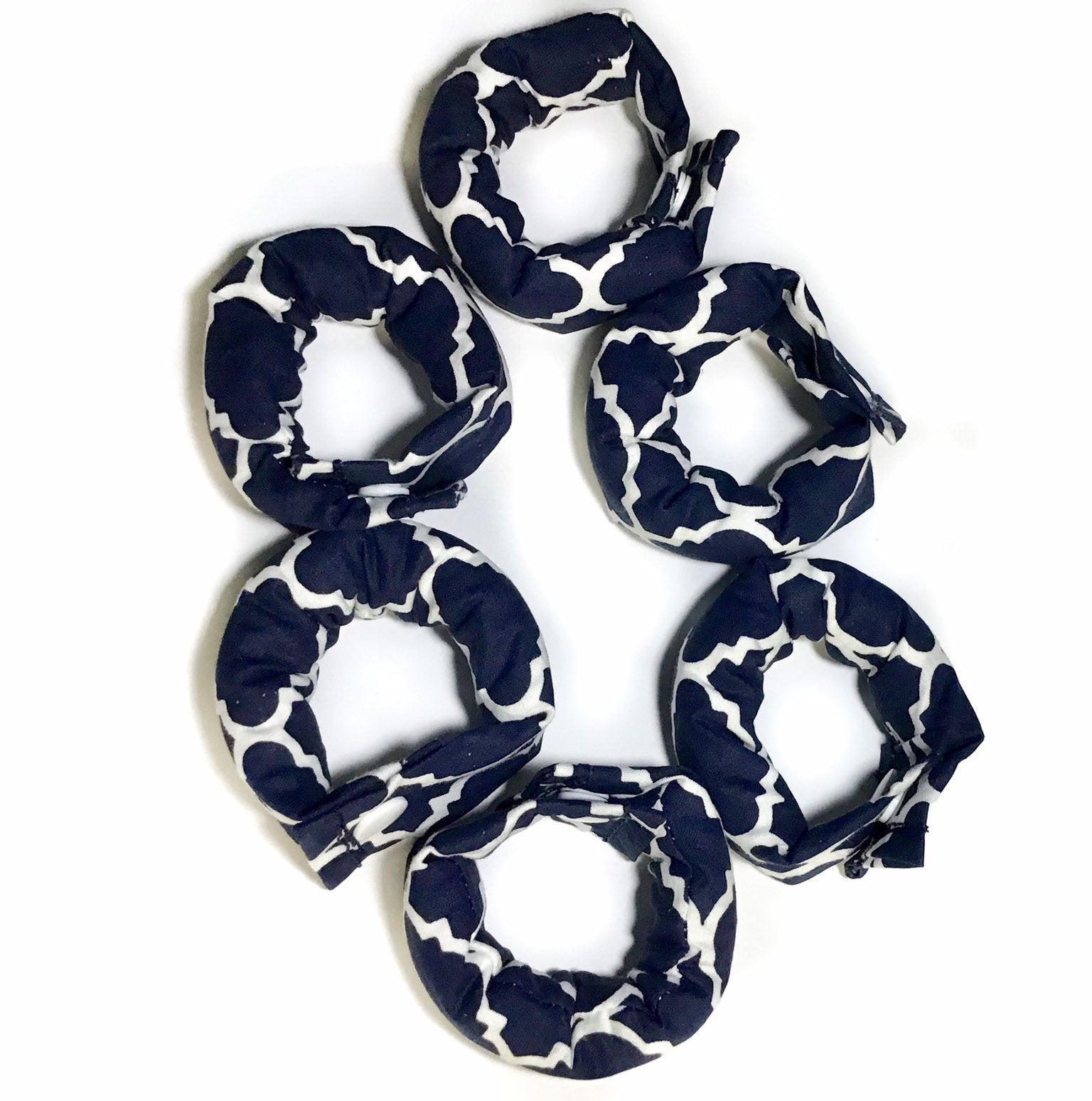 Navy Blue Lattice 1 inch Hair Rollers / Hair Accessories /Soft Hair Curlers - My Easy Curls