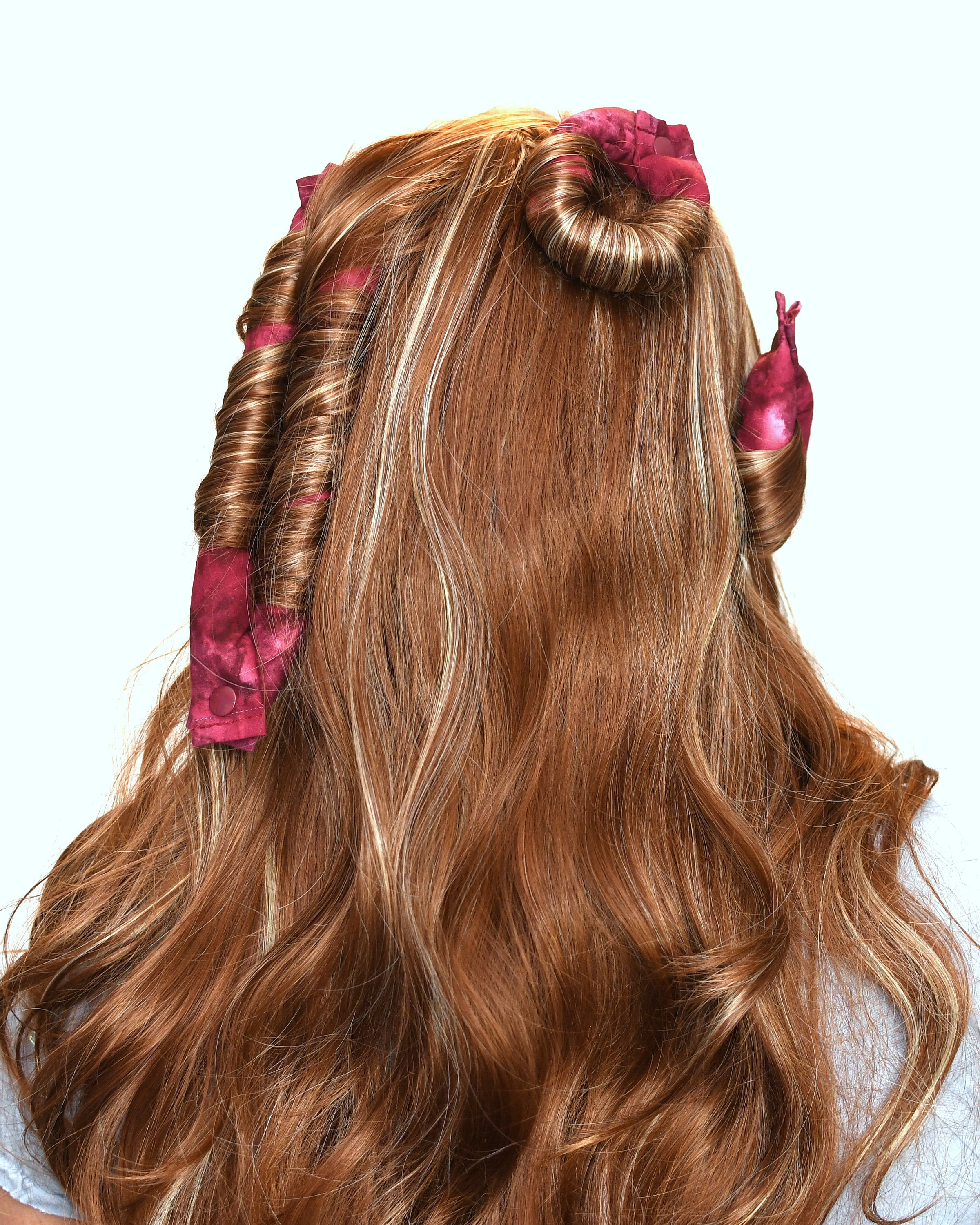 Burgundy Batik Cotton Fabric Hair Rollers/ Soft Fabric Rollers/Hair Curlers/Hair Accessories - My Easy Curls