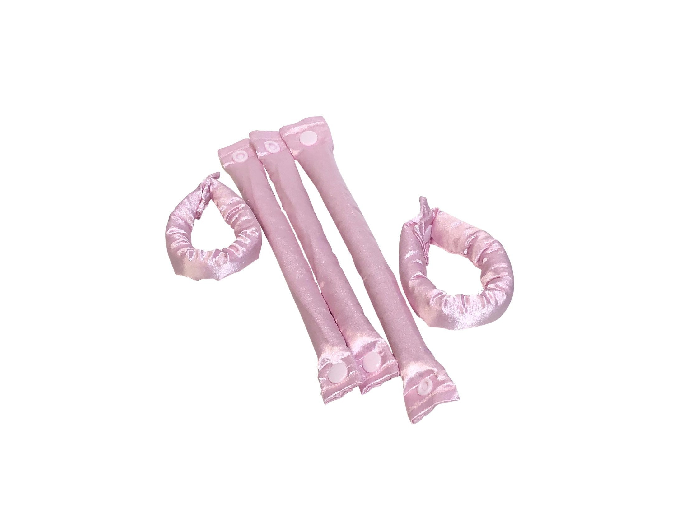 Pale Pink Satin Hair Rollers - Hair Accessories - Soft Hair Curlers - My Easy Curls