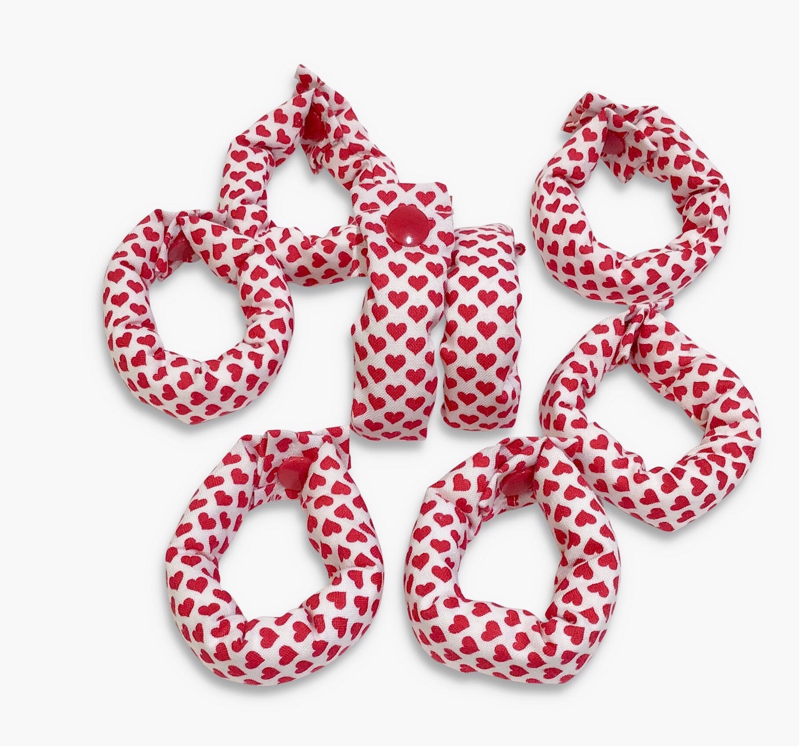 Red and White Hearts Hair Rollers, Hair Curlers, Hair Accessories, soft curlers - My Easy Curls