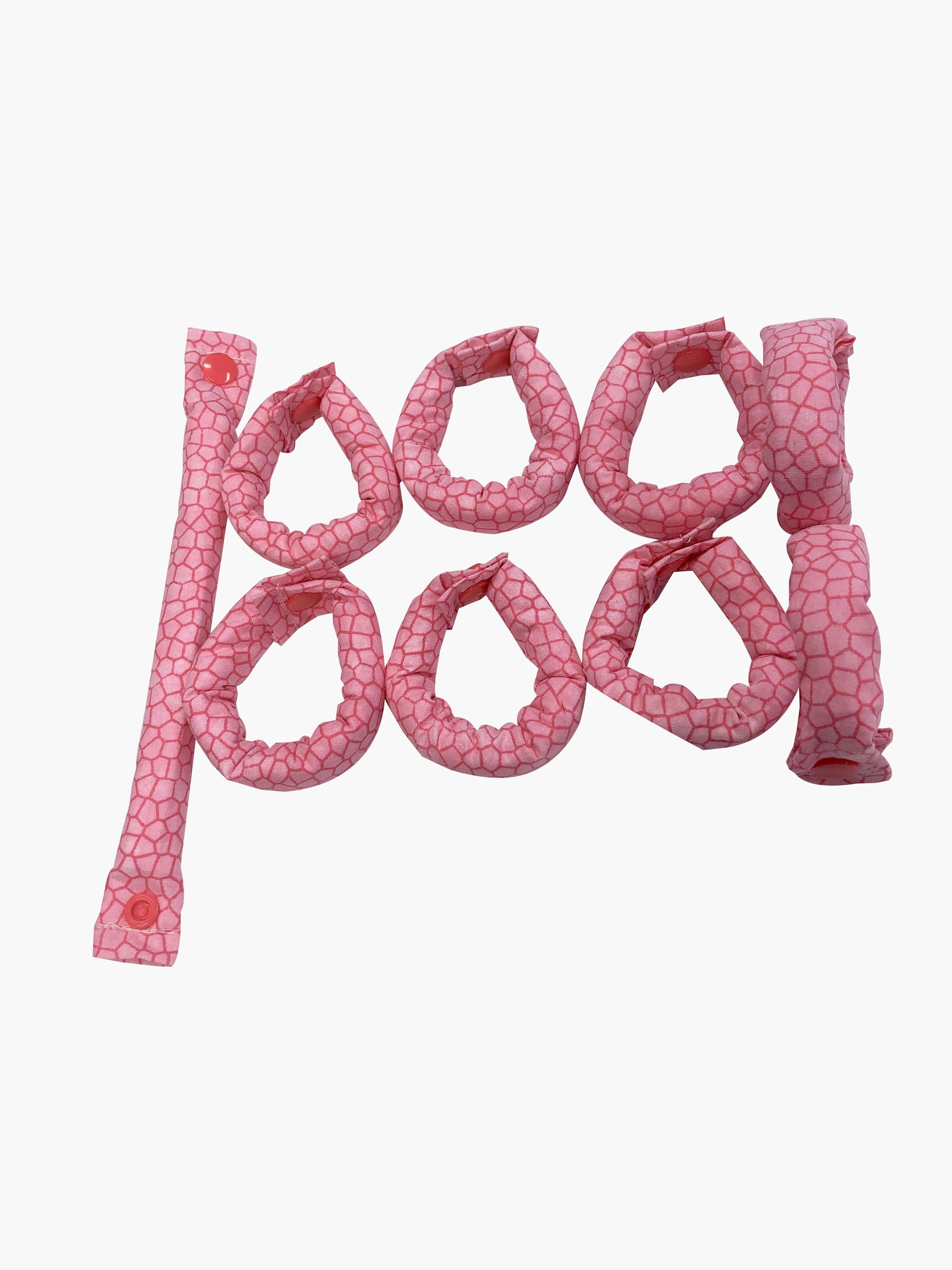 Pink cobblestone/alligator skin Print 3/4 inch fabric hair rollers/Hair Curlers/Hair Accessories - My Easy Curls