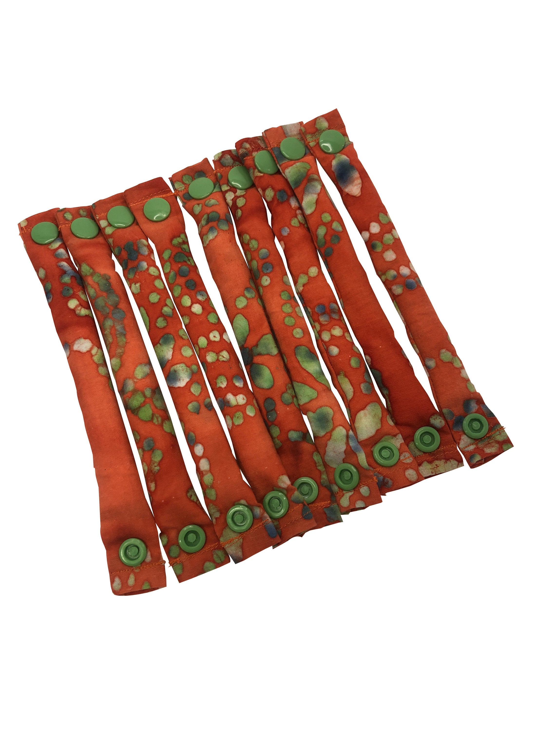 Orange and Green Batik fabric hair rollers/Hair Curlers/Hair Accessories