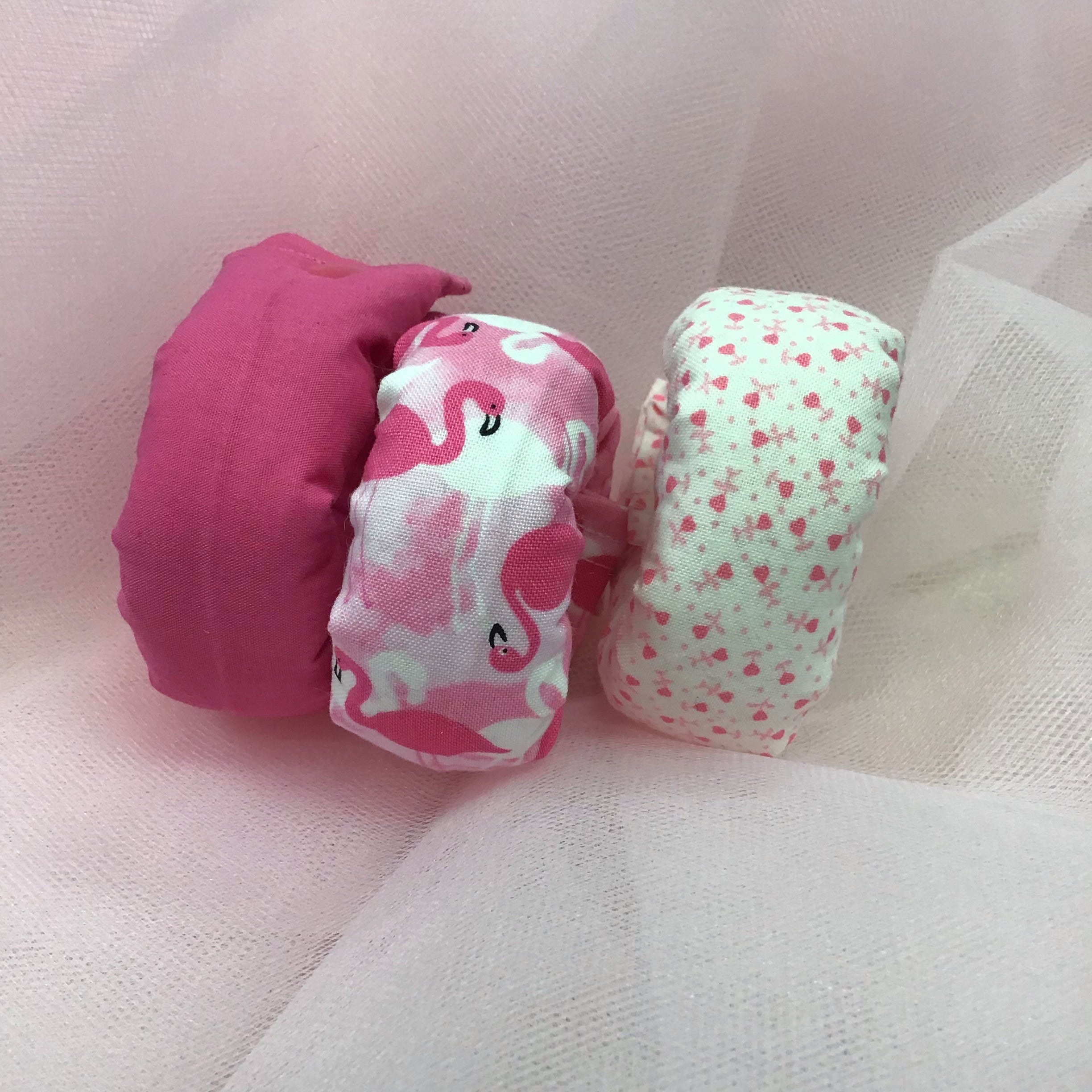 Pink Flamingo Trio 3 Piece set Fabric Hair Roller / Hair Curler - My Easy Curls
