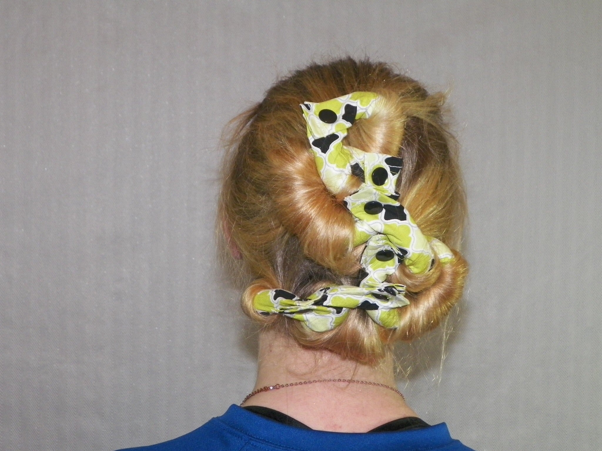 9 piece Lime Green and Black Fabric Hair Rollers/Hair Curlers/Hair Accessories - My Easy Curls