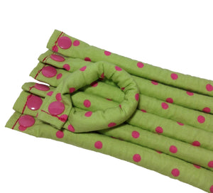 Green and Pink Polka Dot Fabric hair rollers - Hair Curlers - Hair Accessories - My Easy Curls