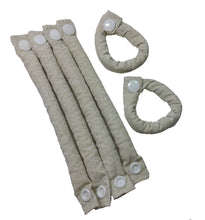 Khaki and White Fabric Hair Rollers/Hair Curlers/Hair Accessories - My Easy Curls