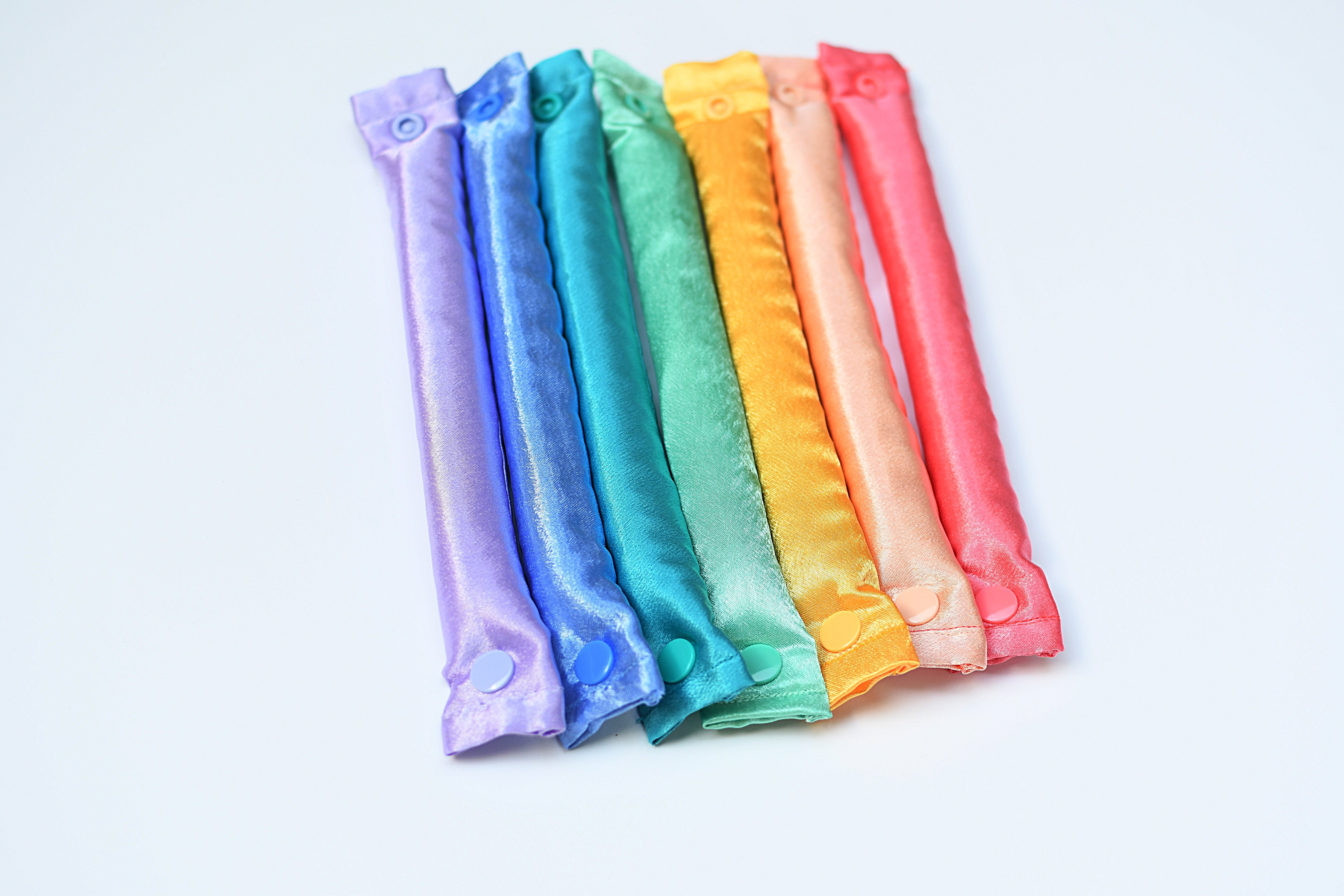 Satin Rainbow Pastel Colors Themed Fabric Hair Rollers / Soft Fabric Rollers / Hair Curlers / Hair Accessories - My Easy Curls