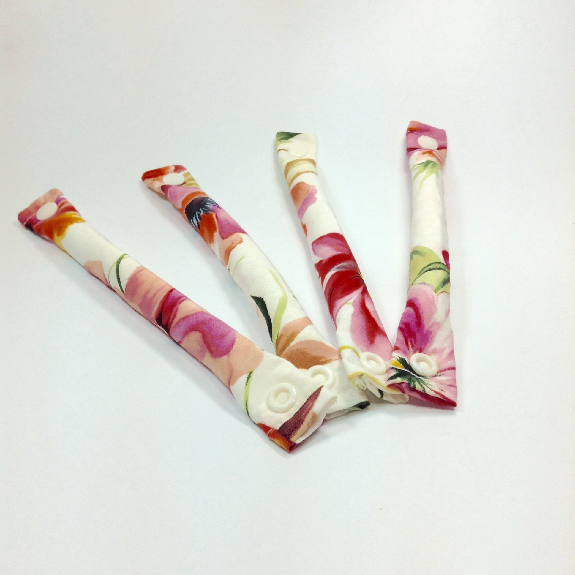 Ivory and floral Satin fabric hair rollers - Curlers - Hair Accessories set - My Easy Curls