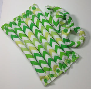 Green Chevron Hair Rollers, Hair Curlers, Hair Accessories, soft curlers - My Easy Curls