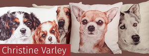 Christine Varley Luxury Dog Themed Cushions available from Dog Krazy Gifts