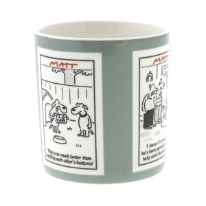 DogKrazy.Gifts - Matt, Grey Cartoon Dogs  featuring 3 of Matts side-splitting dog cartoons, this 350ml bone china mug is Microwave and Dishwasher safe.  Matt produces cartoons for the Daily Telegraph, Sunday Telegraph and Telegraph.