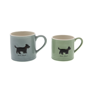 DogKrazy.Gifts – Bailey & Friends shabby chic Scottie Dog – 150ml and 250ml Scottish Terrier mugs. Part of the Bailey & Friends range of mugs and all available from Dog Krazy Gifts