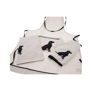 Dog Lover Gifts available at Dog Krazy Gifts - Black Labrador motif on cream Apron, tea towel and oven glove - Part of the Black Dog Range available from Dog Krazy Gifts,