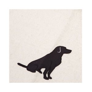Dog Lover Gifts available at Dog Krazy Gifts - Black Labrador motif on cream Tea Towel, part of the Black Dog range available from Dog Krazy Gifts