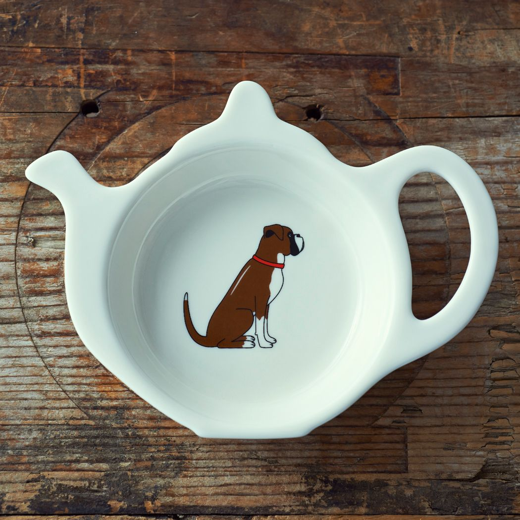 Dog Lover Gifts available at Dog Krazy Gifts – Archie the Boxer dog Teabag Dish - part of the Sweet William range available from www.DogKrazyGifts.co.uk