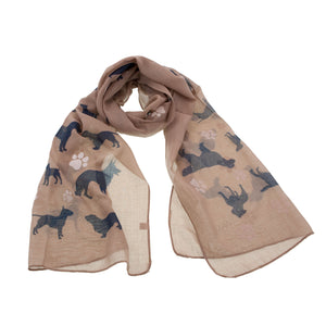 DogKrazy.gifts - Brown Dog and Paws Scarf, White paw prints and various dogs printed in black including Boxers, Staffies and German Shepherd. Available from Dog Krazy Gifts