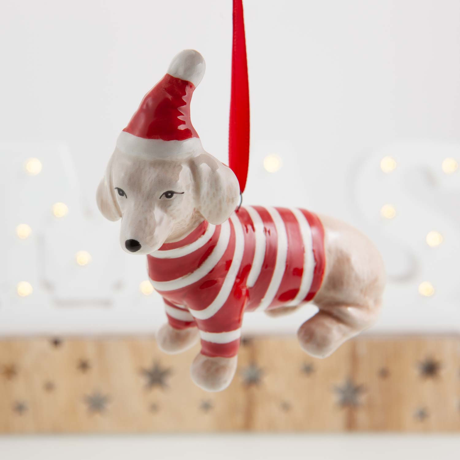 Dog Krazy Gifts -  Ceramic Hanging Dachshund Decoration available from the Christmas Grotto at DogKrazyGifts.co.uk