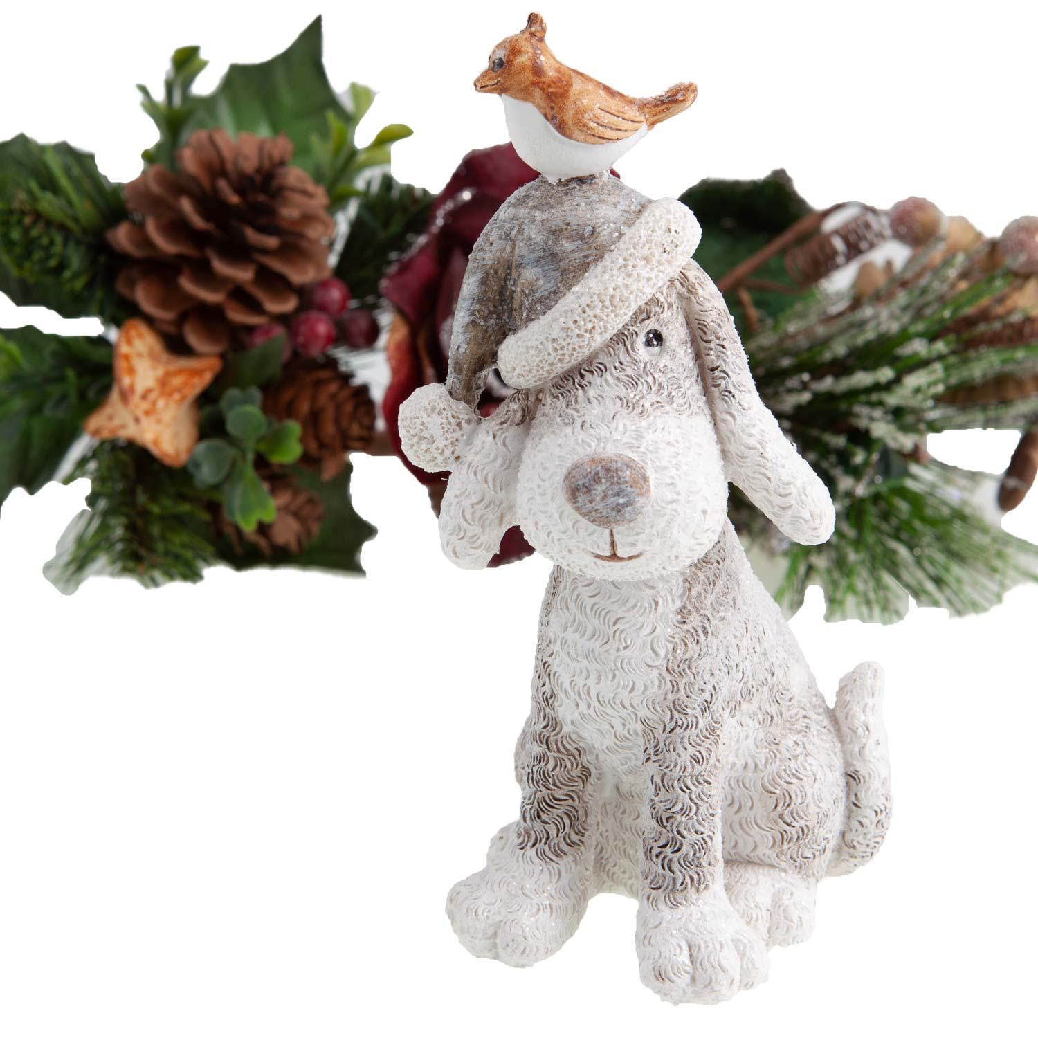 Dog Krazy Gifts - Dog in Hat with Bird Christmas Decoration - available from the Christmas Grotto at DogKrazyGifts.co.uk