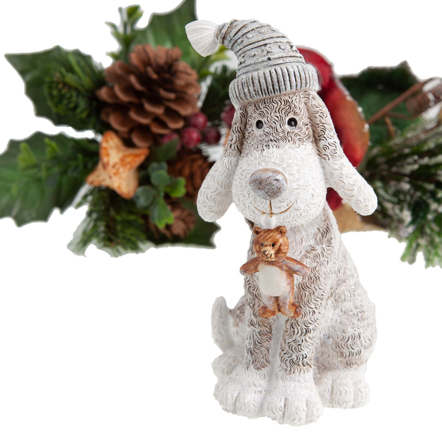 Dog Krazy Gifts - Dog in Hat ith Teddy Bear Christmas Decoration - available from the Christmas Grotto at DogKrazyGifts.co.uk