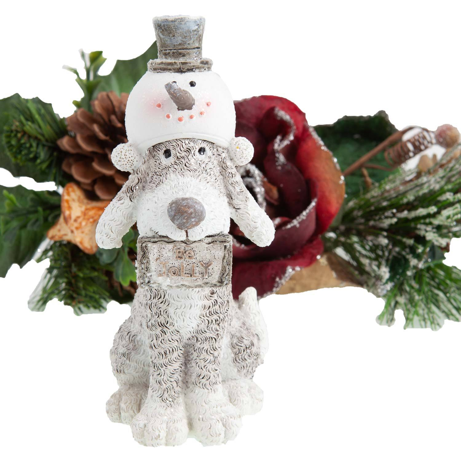 Dog Krazy Gifts - Dog in Snowman Hat Christmas Decoration - available from the Christmas Grotto at DogKrazyGifts.co.uk