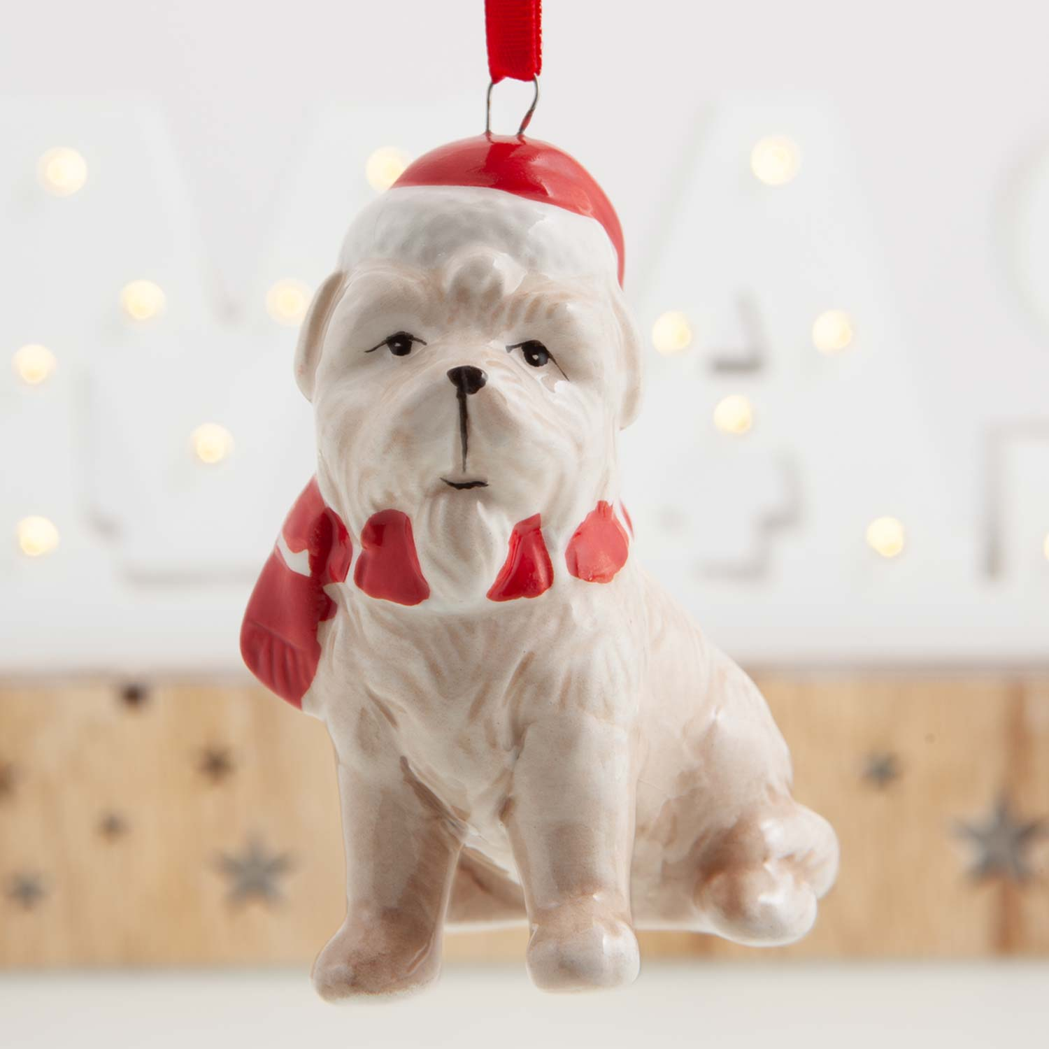 Dog Krazy Gifts -  Ceramic Hanging Dog Decoration available from the Christmas Grotto at DogKrazyGifts.co.uk